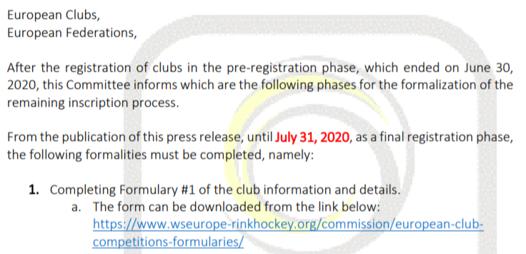 AS-10/2020 – DEFINITIVE REGISTRATIONS – EUROPEAN Competitions